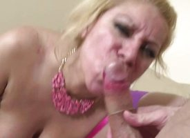 Well-endowed blonde swallows this everlasting dick