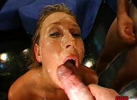 Filthy blonde out of pocket beside cum