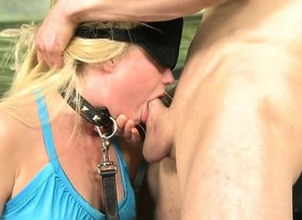Fair-haired Harlot Gets Blindfolded Together with Facefucked