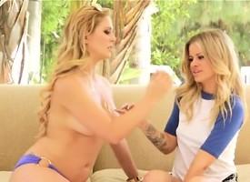 Hot mummy Cherrie DeVille seduces young blonde teen