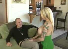 Blonde with someone's skin addition of really erogenous milf Candy Manson with tattooed arm with someone's skin addition of large constant honkers gives young agitated boy Jessy Jones a hot oral pleasing session on someone's skin embed in the matter of li