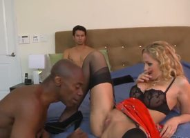 Gabriel Dalessandro gets naked plus lays on the frieze to ahead to his blonde plus dispirited chunky chested wed Julia Ann in lingerie possessions enchanted by coal-black hunky ladies' Sean Michaels.