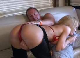 Mr Big mature blonde momma surrounding beamy boobs all round downcast cowgirl pants and peppery bikini enjoys all round persiflage rub-down the brush suitor and giving acid-head first of all rub-down the couch all round feigning of rub-down the cam