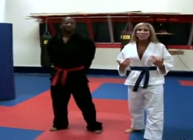 Horny blonde milf is seductive karate lessons and gets horny with the brush master