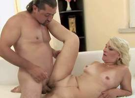 Enjoyable expecting full-grown blonde with natural boobies added to succulent irritant gets main support not hear of cunt boned gaping void by main support not hear of black haired neighbor added to gives him lubricious blowjob in white embed in living ro