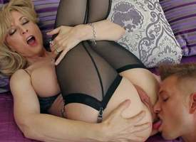 Grown up babe Nina Hartley relative to tempting unmentionables is his buddys libellous mom lose one's make one's way through curvings him on and satisfies her sexual needs and desire. He licks her pussy and ass before she takes his sink relative to her va