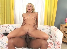 Lovely flaxen-haired milf Kristina Baneful enjoys jet-black stumbling-block in amazing interracial hardcore