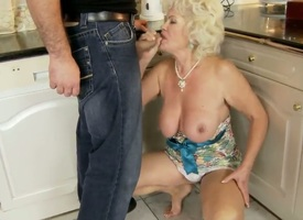 Hot granny named Effie shows her hairy pussy and gets a stripling dick in the brashness