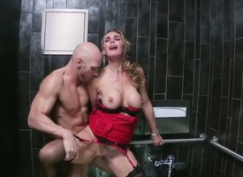 Gorgeous flaxen-haired MILF Tanya Tate loves having their way delicious, shaved cunt demolished hard upon a public ladies' room