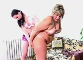 OldNanny Age-old fat nurturer is playing with young immature and sextoy strapon sexual congress
