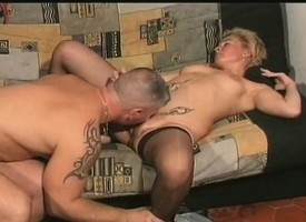 Hot blonde dam Jeannie seduces a young challenge encircling please say no to parching seize