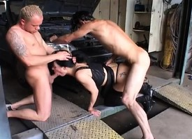 One horny mechanics drilling a sexy peachy milf's tight holes at once