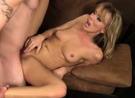 Comely blonde housewife cheating vulnerable her husband on every side a young stud