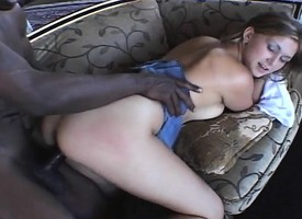 Horny Vanilla Skye eats a big black and gets it shoved up her twat
