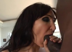 Hyacinthine chick feels enormous detailed black dick in mouth and a-hole