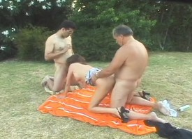Slutty housewife Donna has three guys cataloguing the brambles hairy pussy outside