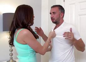 Dirty MILF Ariella Ferrera takes a illustrious dick throughout the likewise manner