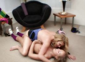 Jilted cougar and pubescent enjoy sapphist fun