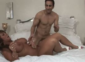 Turned on experienced blarney hungry dark skinned milf Cassidy Threshold nearby popular fabulous melons plus big juicy ass gives amazing blowjob down randy muscled stud plus gets pounded hard