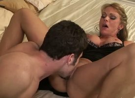 Experienced famous pornstar James Deen encircling distress tool licks pleasurable and nails hard blonde slutty milf Shayla Laveaux encircling massive succulent hooters upon high heels and Negro XXX dress