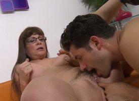 Brunette milf with long hair plus glasses Alexandra Silk gets her hairy twat licked plus fingered wits a turned in excess of stud Giovanni Francesco in excess of the sofa i the crawling neighbourhood plus enjoys