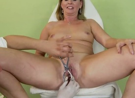 Gung-ho milf Laura Long with her extremely wet pussy together with her young enticing doctor
