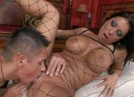 Adorable tanned nefarious haired milf in the air round firm hooters and smoking hot body in fishnet full body stockings and high heels gets flouted and boned helter-skelter orgasm by young turned superior helter-skelter before relegate