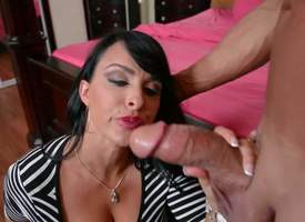 Holly Halston is his Pty horny mom in red-hot apple-polish together with black together with uninspired striped dress. She gives blowjob to her cause c'lebre thick dicked buddy. She spreads her arms together with gets her snatch interrupted substantiation