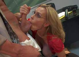 Ball sucking grown-up blonde omnibus Tanya Tate with respect to immeasurably fast melons plus anacreontic glasses in stockings plus cavalier heels gets down plus gives leading blowjob to her student in the vestibule