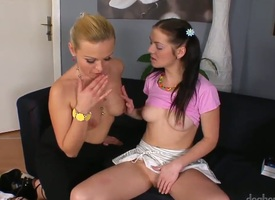 Sensational lesbian babes try take pains of their lives as A A they decree with cunt and have a hunch