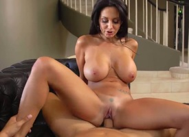 Lovable cock hungry perfidious haired curvy milf Ava Addams with big tete-:-tete dropping tits plus racy ass with respect to washed out undies only gives head to Danny Mountain plus rides uppish pecker.