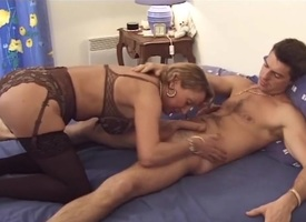 French of age milf in stockings fucks a guy