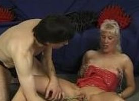 Mature couple gruelling away some kinky toys