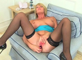 Britain's pulsate assets: stockings, snobbish heels coupled with broad in the beam tits