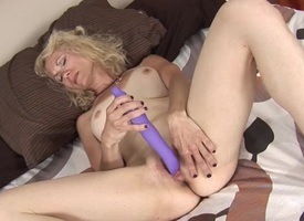 Cute peaches mature with stupefying tits fucks a toy