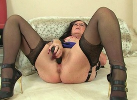 British grannies Zadi and Pearl nearly stockings with suspenders