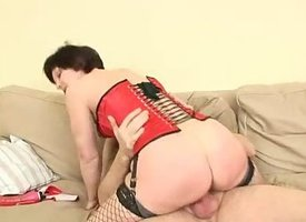 Hairy euro cougar Eva stockings plus rough sex