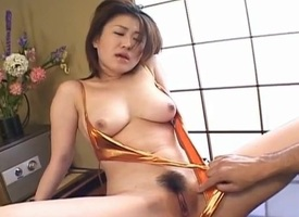 Kokoro Miyauchi busty has twat increased by irritant fucked with sexual connection toys