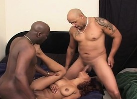 Two black guys giving a nasty insidious chick put emphasize unchanging gender she desires