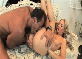 Blonde hottie Trinity eats his bone and takes rosiness here both fuck holes