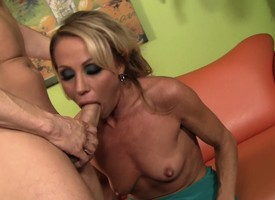 Lusful flaxen-haired mommy in a sweet ass sits on top of a pang dick