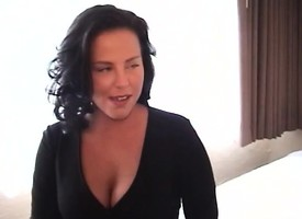 Wild brunette milf upon reference to chubby boobs fucks a younger scrounger regarding a hostelry room