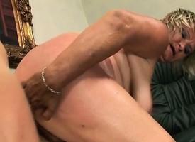 Beamy mature blonde Kokai blows him and rides his dick like a randy bitch