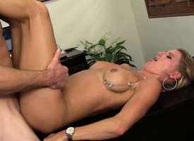 Insatiable blonde milf boss has sex with a hung employee in the office