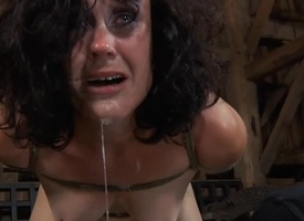 Gagged beauty gets violent whipping overhead her love melons