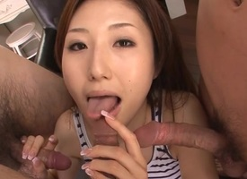 Sexy Oriental boob in heels gets revealed increased by fucked on day-bed