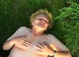 Old granny masturbates outside and a cock comes along in drag inflate and nail their way