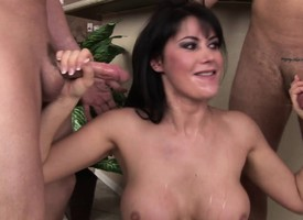 Big breasted Eva Karera sucks very many cocks and swallows their hot albatross
