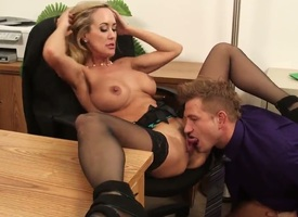 Charming Act Bailey is fucking his hot worker Brandi Hallow during office noontide
