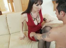 Hot together with super dark haired milf close forth XXX red glad rags RayVeness gets her shaved taco defied on the siamoise close forth her living size off out of one's mind a horny young dark haired coxcomb Joey Brass together with enjoys